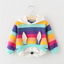 Новая весенне-осенняя одежда для маленьких девочек, хлопковый свитер с капюшоном, детская повседневная спортивная одежда с рисунком, Одежда для младенцев