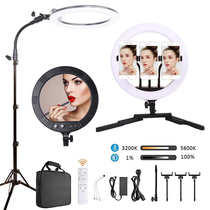 12 Inch Dimmable Beauty Ring Light Photography Stand LED Selfie Ring Light 36CM Fill Light with Tripod Stand Cell Phone Holder for Live Stream Makeup Video