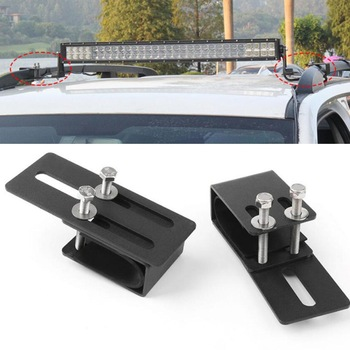 1pair Car Roof Luggage Rack Light Bar Mounting Holder Universal Metal Auto SUV 4X4 Crossbar Lamp Brackets image
