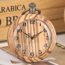 레트로 우드 쿼츠 포켓 시계 아라비아 숫자 라운드 다이얼 아날로그 탑 독특한 fob 체인 시계 빈티지 나무 미술 용품 선물