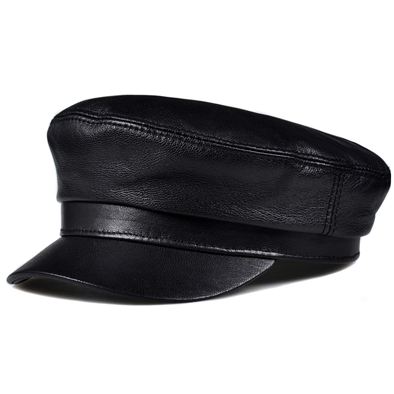 Real Leather Cap Men's Flat Caps Genuine Leather Cap Men Army Military Hat Fashion Brands Cap Sheepskin Leather Old Men Hats