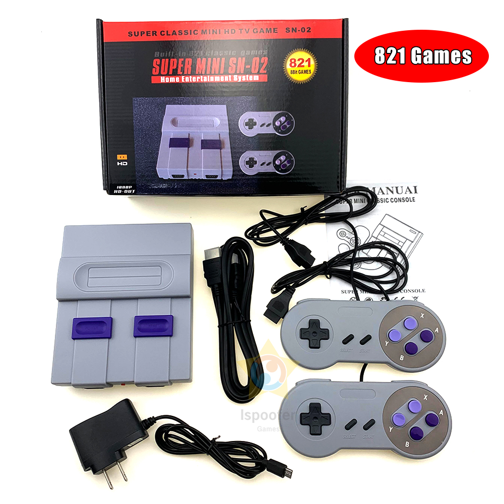 8Bit Mini HD HDMI TV Retro Family Video Game Console Handheld Built-in 821 Classic for SNES Games Dual Gamepad Player PAL amp NTSC