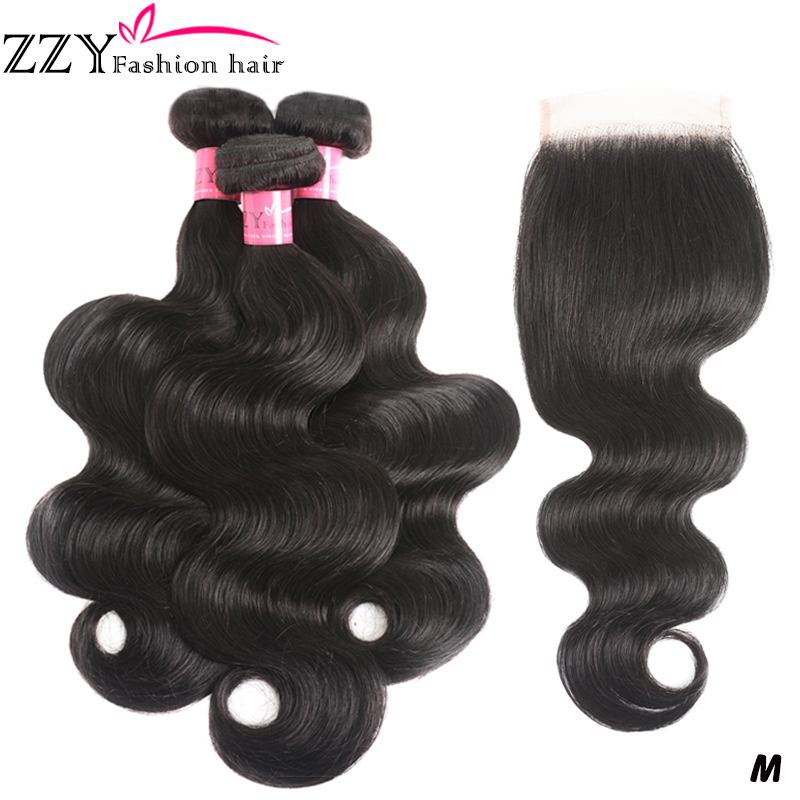 ZZY Fashion Hair Brazilian Body Wave Bundles With Closure Non-remy Human Hair Weave Bundles With Closure