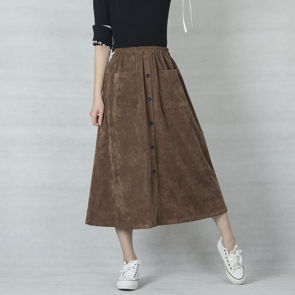 Casual Skirt 2020 Corduroy Skirts Women High Waist A-Line Skirts Women Solid Button Pocket Skirts Jupe Femme Saia High Quality