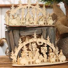 Christmas Decoration Accessories Snowman Tree Sheep Shape Wood Church Home Party Table Decoration Home Ornament Xmas Gifts(China)