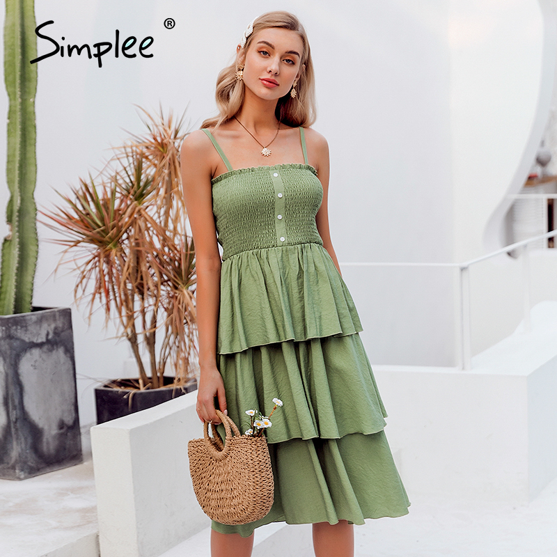 Simplee Holiday Sleeveless Summer Dress Ruched High Waist Buttons Ruffled Women Sundress Casual Solid Ladies Party Beach Dress