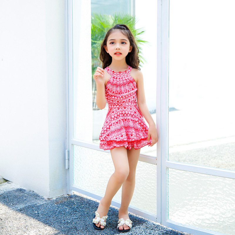KID'S Swimwear South Korea Girls One-piece Hot Springs Swimwear Large Children GIRL'S Cute Dress-Swimming