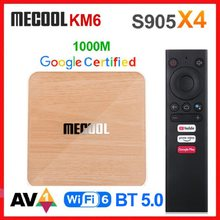 Androidtv 10.0 google certificou wifi duplo 6 1000m 4gb 64gb leitor de mídia 2g16g mecool km6 deluxe atv android 10 amlogic s905x4