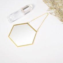 Скандинавское минималистичное украшение для дома, геометрическая форма, золото, латунь, восьмиугольное зеркало, зеркало для ванной комнаты, Входное зеркало для макияжа
