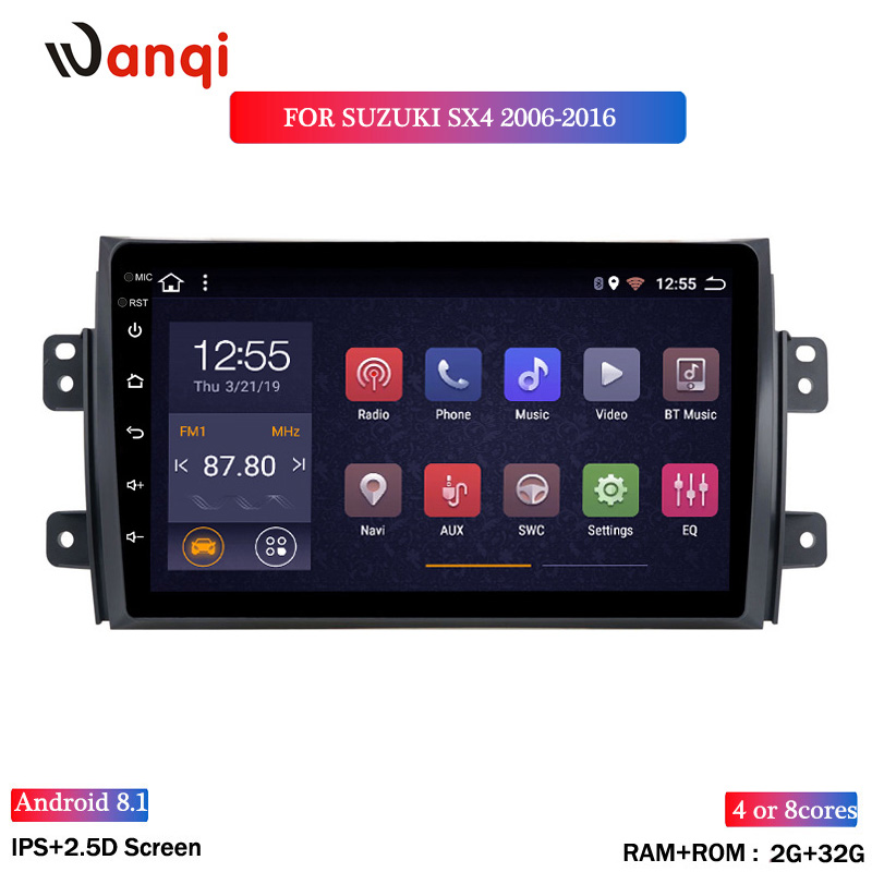 2.5D IPS Screen <font><b>Car</b></font> <font><b>Radio</b></font> Player For <font><b>Suzuki</b></font> <font><b>SX4</b></font> 2006 2007 <font><b>2008</b></font> -2011 2012-2016 1Din Android 8.1 <font><b>Multimedia</b></font> GPS Navigation Player image