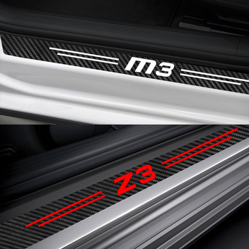 For BMW M1 Homage 40i M2 CS M3 E92 M4 M5 M6 Z1 Z3 Z4 E89 E85 Z8 Auto Accessories 4PCS Car Door Sill Stickers Carbon Fiber Decals image
