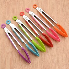 Kitchen Tongs Clamp Salad-Tools Cooking-Clip BBQ Stainless-Steel Silicone Non-Slip