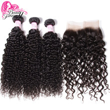 Tissage en lot malaisien naturel Remy-Beauty Forever | Cheveux bouclés, 13*4, perruque Lace Frontal Closure, partie libre(China)