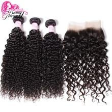 Beauty Forever mechones de cabello humano postizo rizado malayo, con cierre Frontal de malla 13x4, cierre Remy