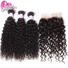 Beauty Forever малазийские кудрявые натуральные кудрявые пучки волос с 13*4 кружевной фронтальной застежкой свободная часть Remy