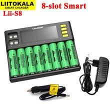 Liitokala Lii-S8 18650 carregador li-ion 3.7v ou nimh 1.2v Li-FePO4 3.2v imr 3.8v para 26650 21700 26700 aa aaa bateria