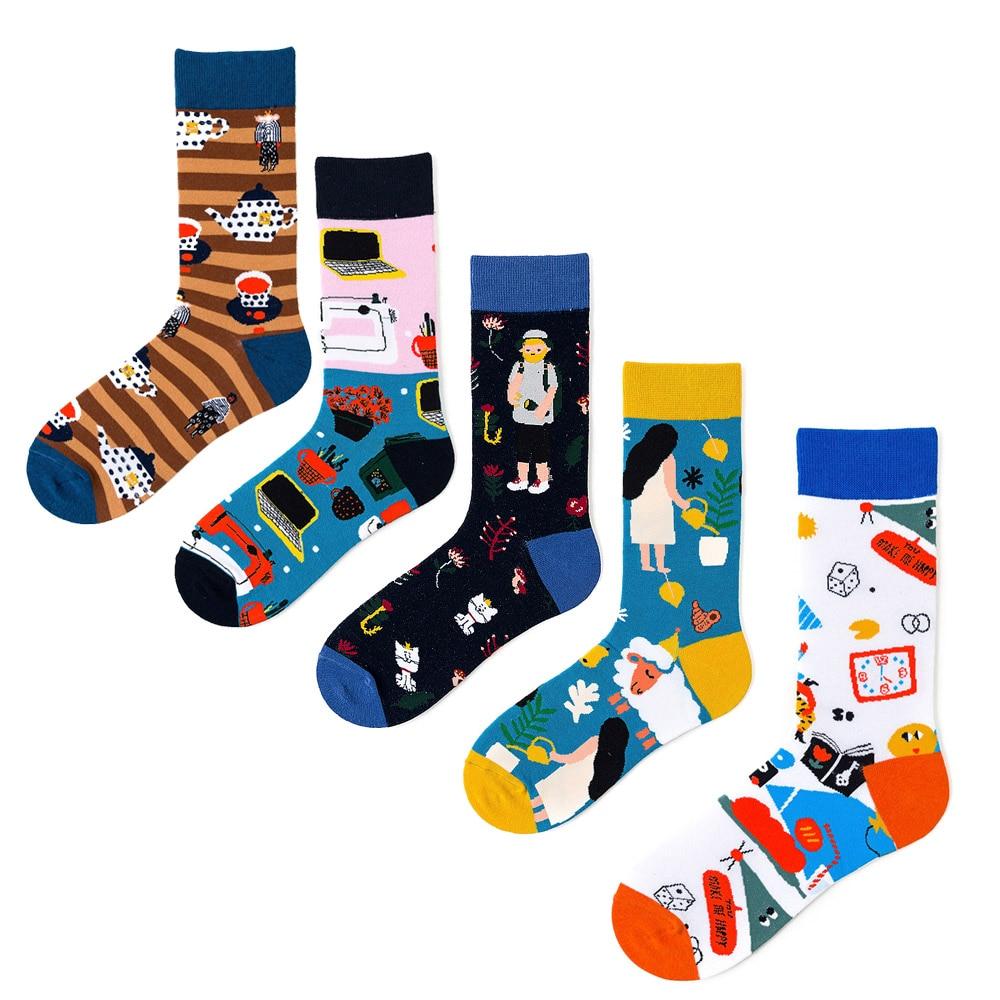 Colorful Men Socks Cotton Funny Crew Socks Cartoon Cat Watering Teacup Sheep Modern Happy Life Women Socks Novelty Gift Sock