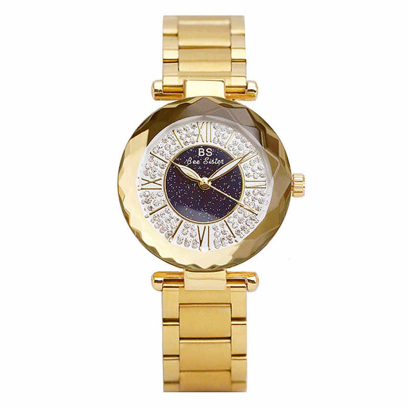 Women Stainless Steel Rhinestone Watches Silver Bracelet Quartz Waterproof Lady Business Analog Watches Pink Blue Dial Clock New