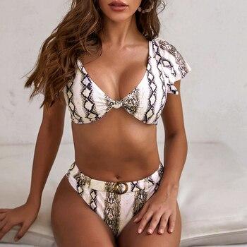 In-X Peacock print sexy bikini 2020 Short sleeve swimsuit female V neck swimwear women High waist bikini set Summer bathing suit 3