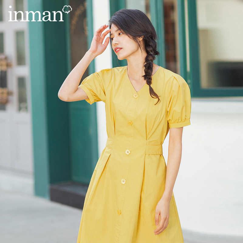 INMAN 2020 Summer New Arrival 문학 퓨어 코튼 v 넥 레이스 업 허리 슬림 프렌치 스타일 드레스