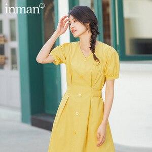 Image 2 - INMAN 2020 lato nowy nabytek literacka czysta bawełna dekolt w szpic sznurowany talia Slimmed francuski styl sukienka