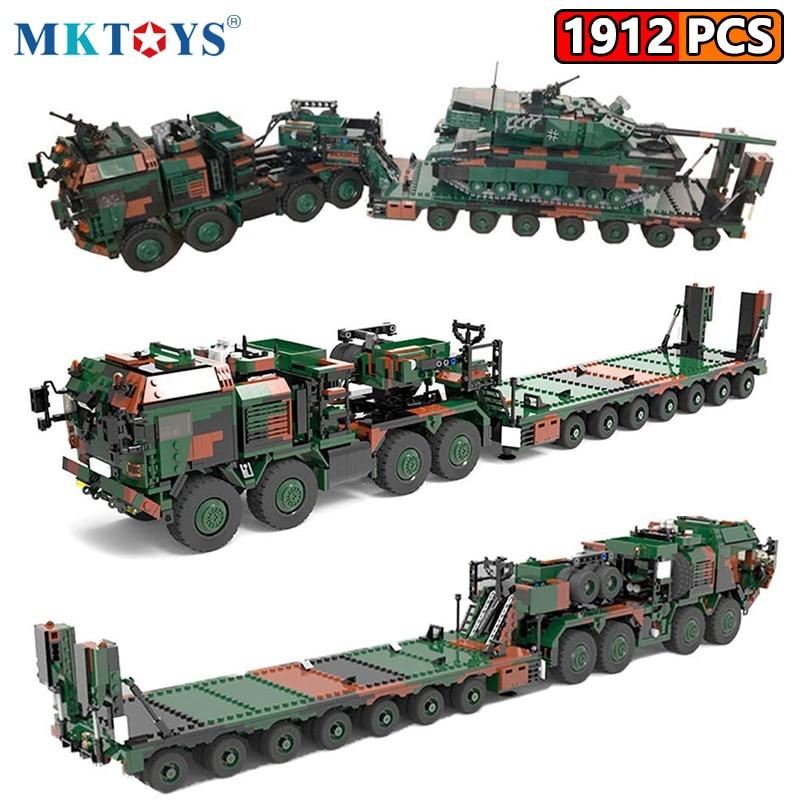 MKTOYS WW2 Military German Army Building Bricks Battle Tank Transport Truck Vehicle Blocks HX-81 World War SLT Mammut Gifts