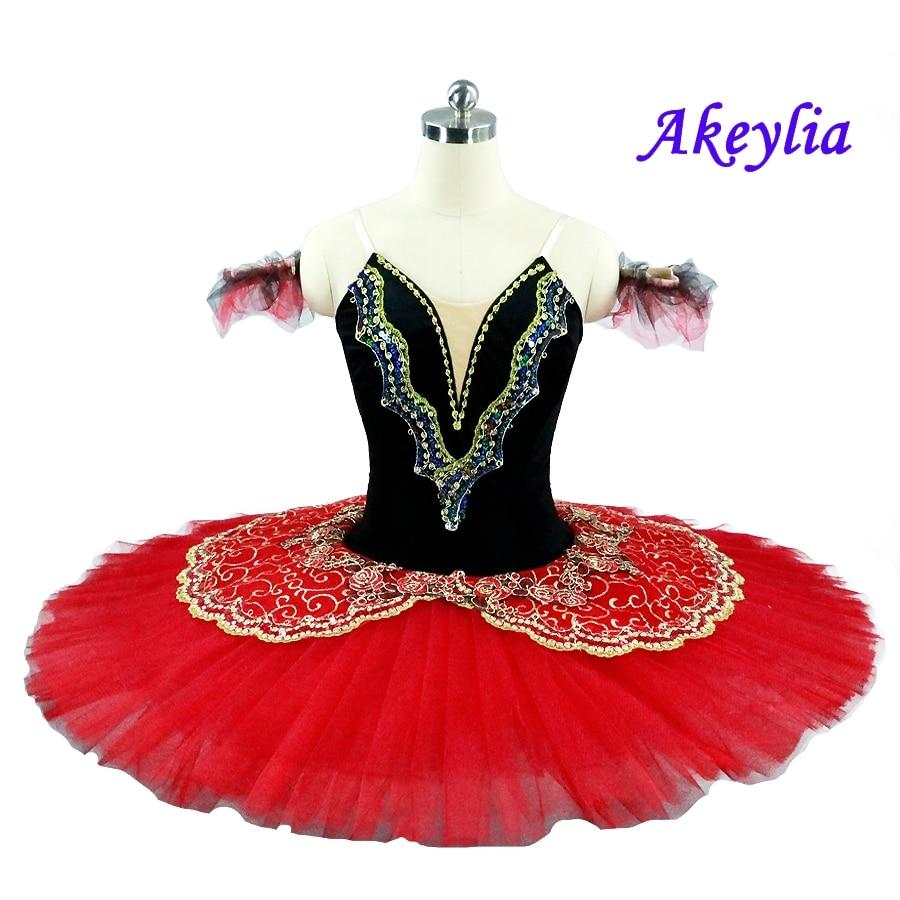 Girl Pro Ballet Tutu lace Dance wear RED white Dance Dress Platter Costume