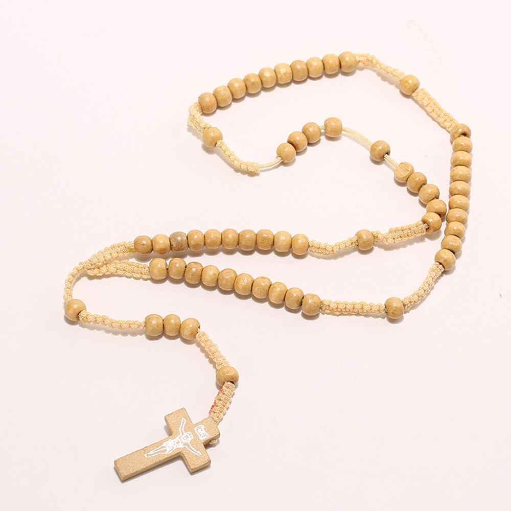 Yeni ahşap boncuk çapraz kolye kolye kadın erkek katolik mesih dini İsa tespih takı hediye Strand