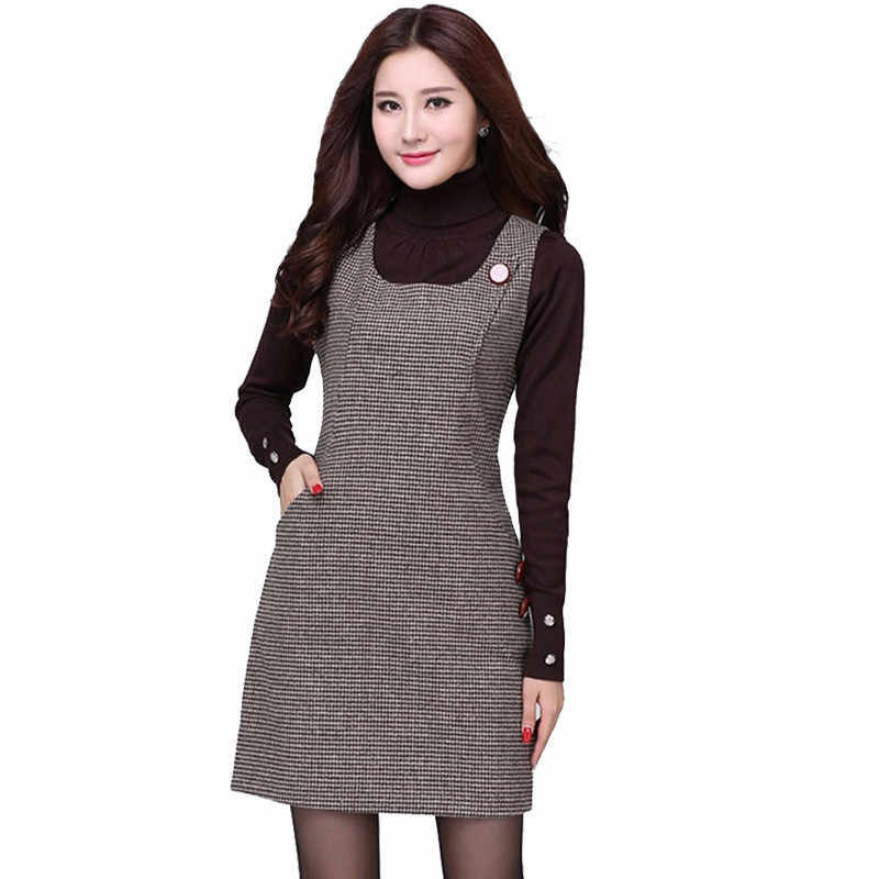 Clobee 2020 Autumn Winter Woolen Women's Dress Plus Size Vest Dresses School Mori Basic Office Dress Female Vestidos de Festa