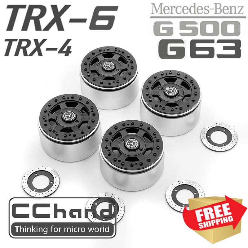 Radio control <font><b>car</b></font> TRX4 TRX6 TRAXXAS 88096-4 6X6 G63 G500 2.2 inch metal lock tire <font><b>wheel</b></font> <font><b>disk</b></font> brake option upgrade parts image