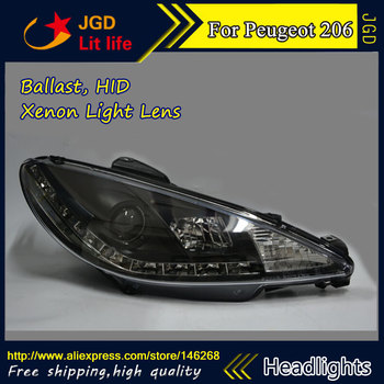 Car styling LED HID Rio LED Peugeot 206 headlights Head Lamp case for Peugeot 206 headlight 1998-2004 Bi-Xenon Lens low beam