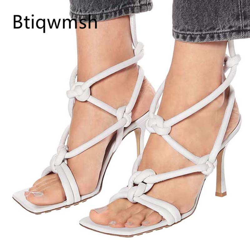 2019 Gold Leather Knot Bandage Gladiator Sandals Women Open Toe Cross Strap Strange High Heel Shoes Woman Sexy Part Shoes