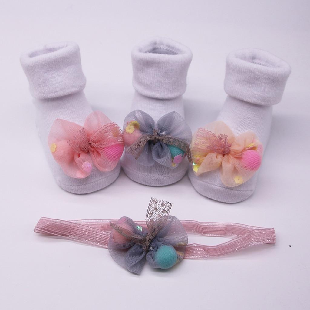 Baby Socks Anti Slip Socks For Newborns Cotton Children's Socks Cute Warm Winter Socks+1pc Hair Belt  Baby Girl Socks