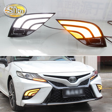 For Toyota Camry SE 2018 2019 LED Daytime Running Light Bumper Fog Lamp DRL With Yellow Turn Signal Lamp