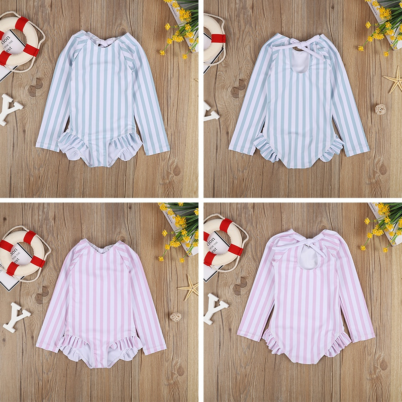Baby/Toddler Girls Stripe Sun Protection Long Sleeve One Piece Swimsuit With Tie The Rope