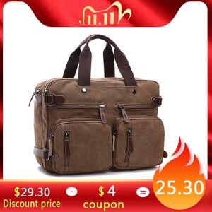 Image 1 - Scione Men Canvas Bag Leather Briefcase Travel Suitcase Messenger Shoulder Tote Back Handbag Large Casual Business Laptop Pocket