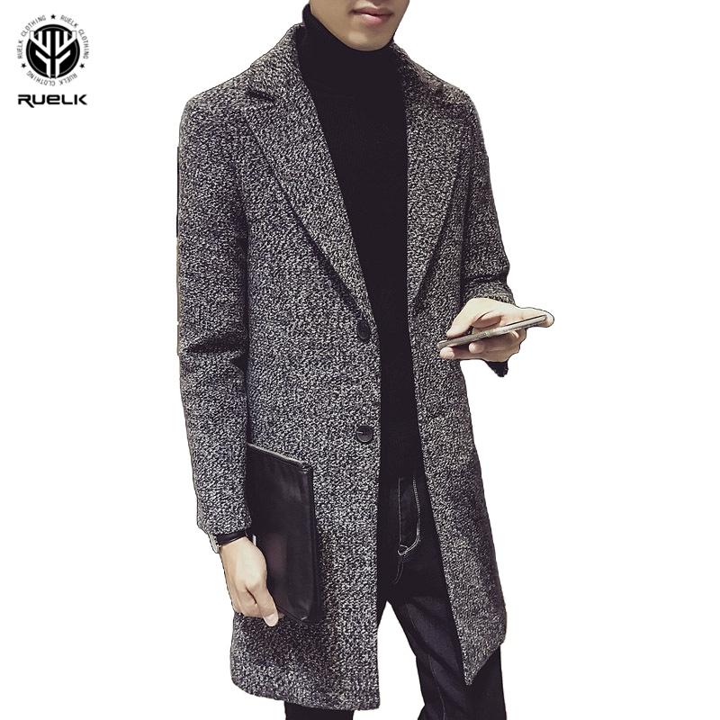 RUELK 2020 New Slim Men's Coat Jacket Autumn And Winter Models Youth Fashion Mid-Length Trench Coat Jacket Men's Clothing