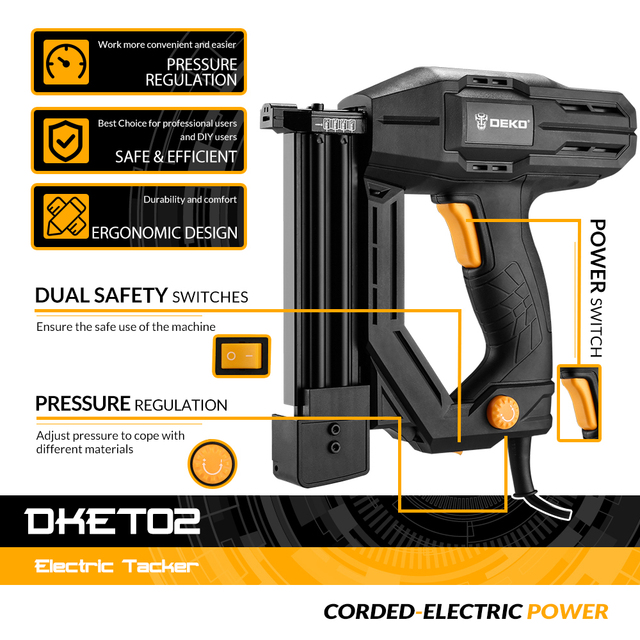 DEKO DKET02  Electric Tacker and Stapler Furniture Staple Gun for Frame with Staples & Woodworking Tool 5