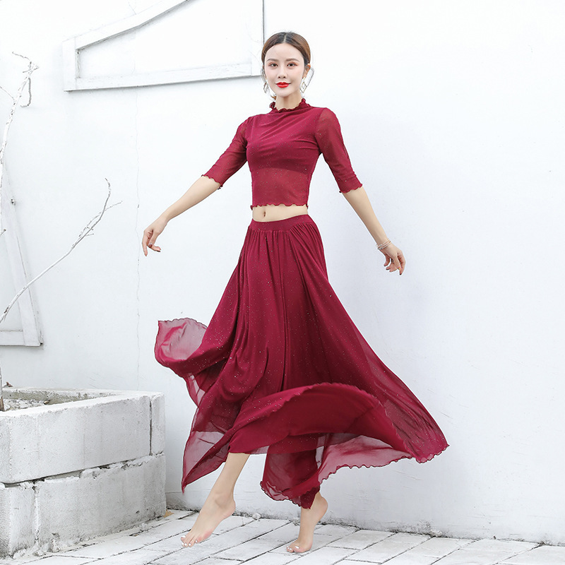 Women Belly Dance Training Suit Oriental Dance Performance Uniforms Eastern Dance Costumes Two Pcs Top And Skirt Set Long Dress