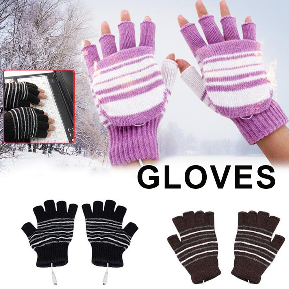 Winter Knitted Gloves USB Heated Half Finger Gloves Washable Fingerless