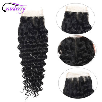 CRANBERRY Hair Deep Wave Human Hair Bundles With Closure 4 pcs/lot Brazilian Hair Weave Bundles With Closure Remy Hair Extension 4