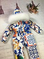 70cm 155 2019 Winter baby girl down coat Baby clothes print outerwear Fur children's Snowsuit down overall Child jumpsuit romper