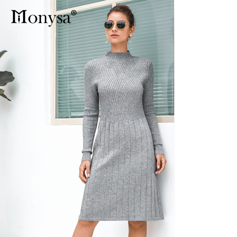 Casual Knitted Sweater Dresses Women New Arrival 2019 Autumn Long Sleeve Dress Ladies Knee Length Dress Winter Clothes 40