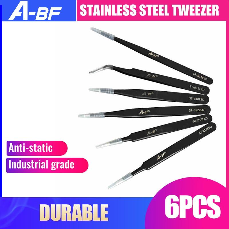 New 6PCS Anti-static ESD Stainless Steel Tweezers Maintenance Tool Industrial Precision Bending Tweezers Maintenance Tool
