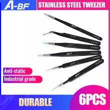 Neue 6 PCS Anti-statische ESD Edelstahl Pinzette Wartung Werkzeug Industrielle Präzision Biegen Pinzette Wartung Werkzeug