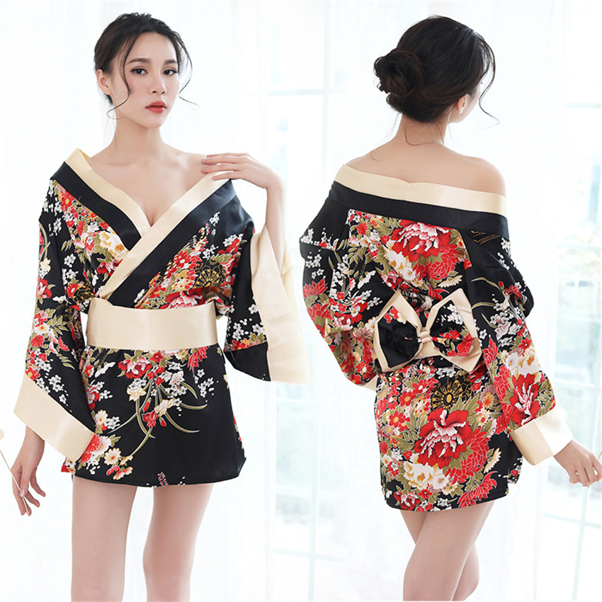 Kimono Women Drress Japanese Style Sexy Yukata V-neck Floral Print Satin Silk Party Sleepwear Bath Robe Geisha Sexy Costume