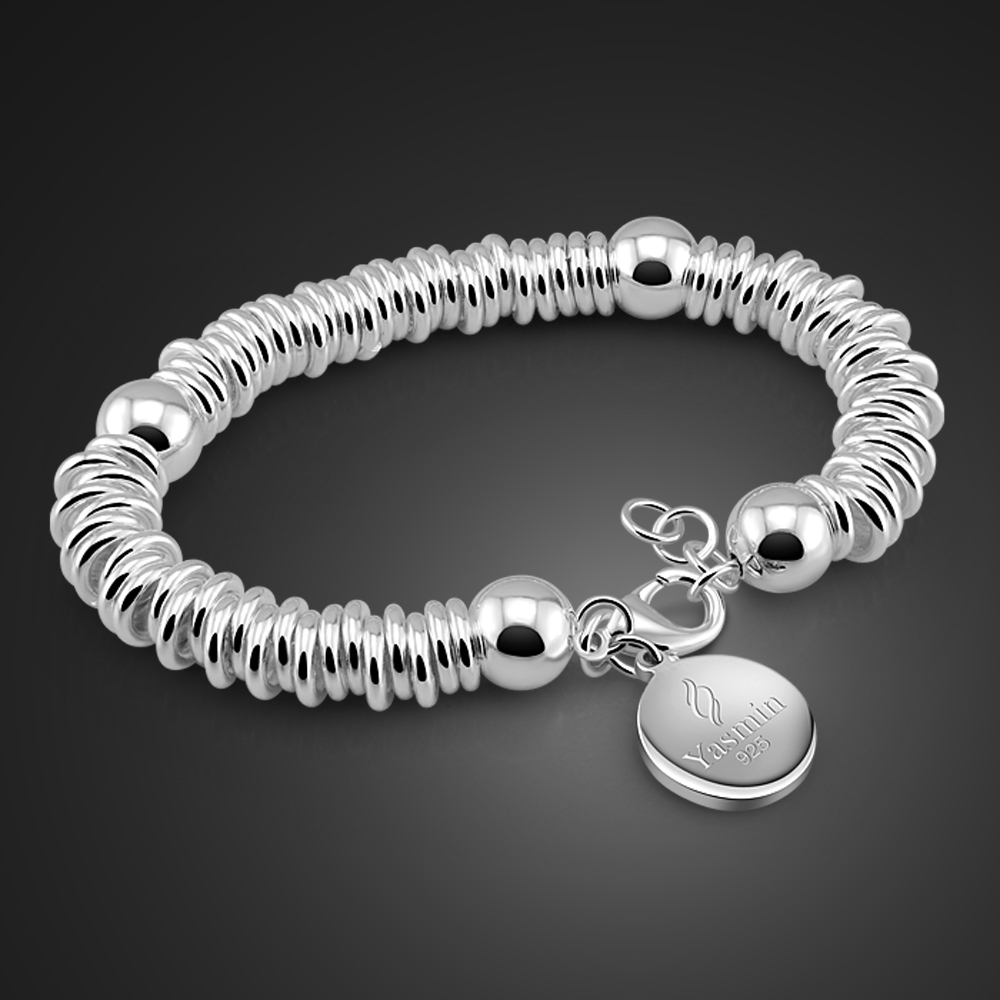 Wholesale Fashion Brand Silver Jewelry 100% Solid 925 Silver Round Pendant Bracelet High quality Hand catenary gifts For women