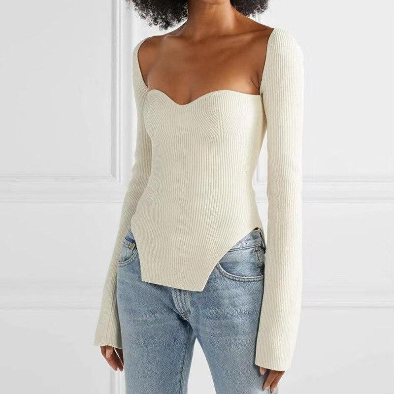 LANMREM 2020 New Spring Sexy Sqaure Collar Full Sleeves Knitting Slim Pullover Elastic Shirt Female Fashion Top WK08001S