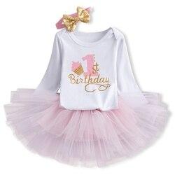 1 год, детское платье на день рождения, одежда для маленьких девочек, платье с длинным рукавом для маленьких девочек, праздничные наряды с на...