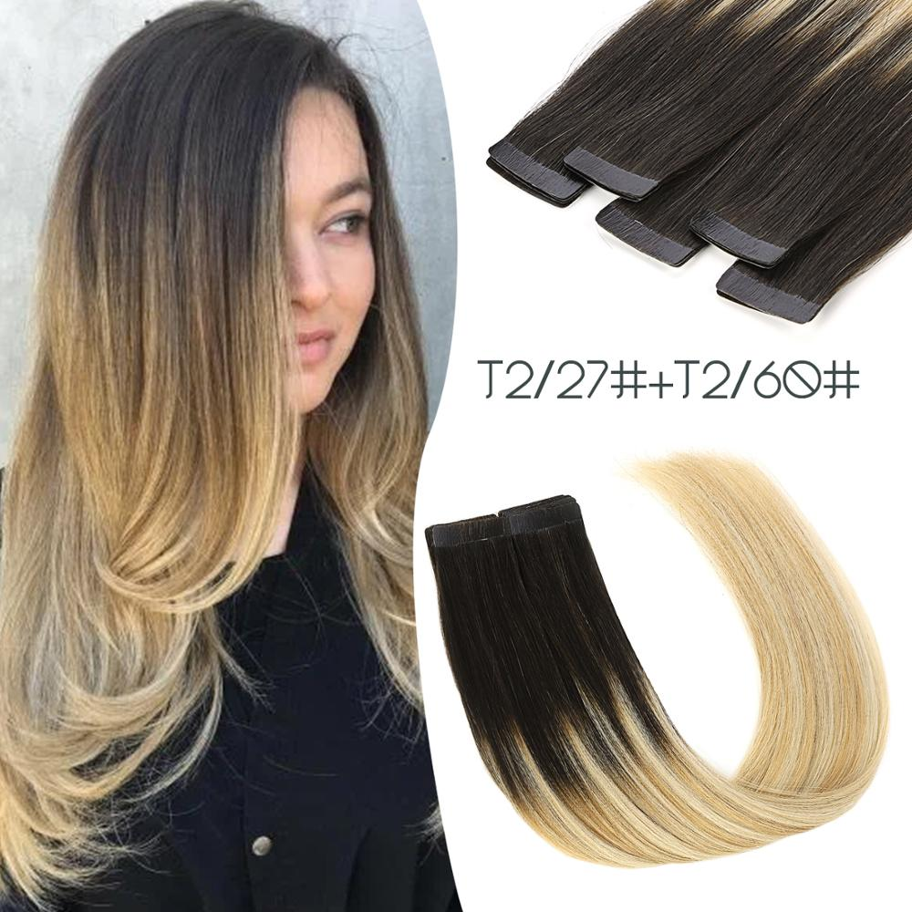 K.S WIGS 20'' Remy Tape In Human Hair T2/27+T2/60# Ombre Color 2.5g/pc Double Drawn Adhesive Hair Extensions